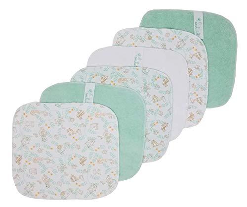 Soulwell Bébé Ensemble de 6 lingettes seches serviettes bio Super doux, coloré, lisse, de qualité supérieure Essuie-mains tout-usage certifié GOTS de 21 x 21 cm