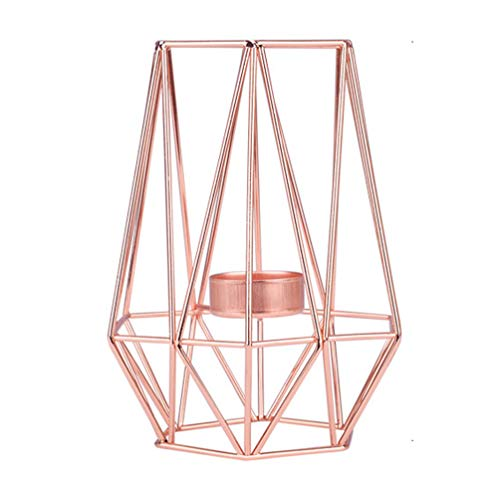 SYUS Geometric Iron Candelabra Holder,Metal Tea Light Candle Holder Table Decorations Wire Iron Tea Light Candle Holder Lantern for Wedding Holidays Thanksgiving Christmas Party Decor