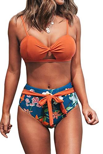 CUPSHE Damen Bikini Set Deko-Twist High Waist Geblümte Bademode Zweiteiliger Badeanzug Orange M