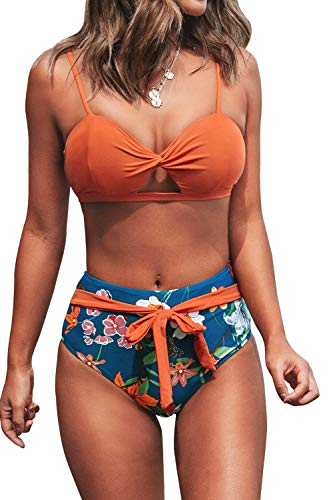 CUPSHE Mujer Bikini Floral Fruncido Bowknot Traje De Baño Naranja XXL
