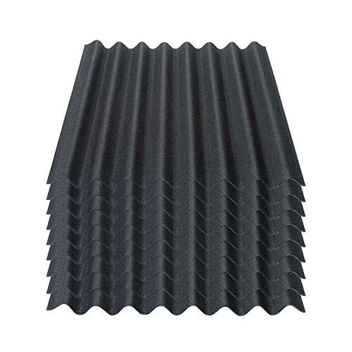 Onduline Easyline Dachplatte Wandplatte Bitumenwellplatten Wellplatte 9x0,76m² - schwarz