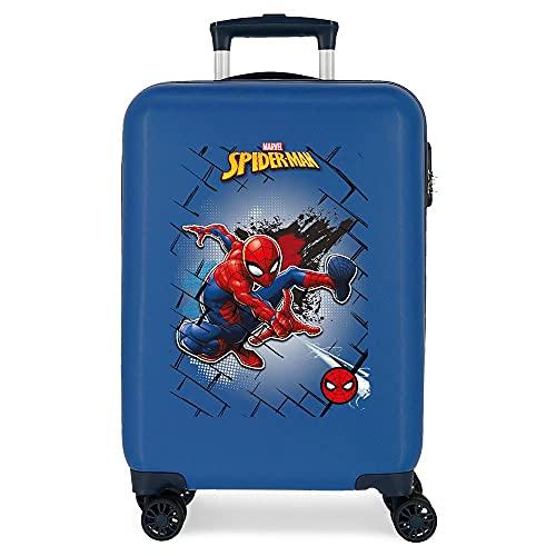 Marvel Spiderman Red Maleta de Cabina Azul 38x55x20 cms Rígida ABS Cierre de combinación Lateral 34L 2,66 kgs 4 Ruedas Dobles Equipaje de Mano