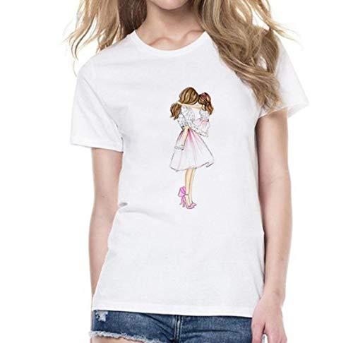 ZWH 2018 Modelos de explosión AliExpress Wish en Cuello Redondo Camiseta Slim Camisa de la cartilla de Las Mujeres de una generación de Grasa (Color : White, Size : XXXXL)