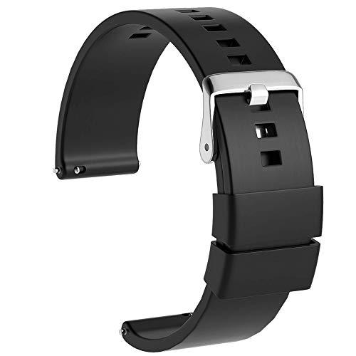 Ullchro Correa Reloj Recambios Correa Relojes Caucho Suave Flexible Hombre Mujer - 18, 20, 22mm Silicona Correa Reloj con Hebilla de Acero Inoxidable (20mm, Negro)