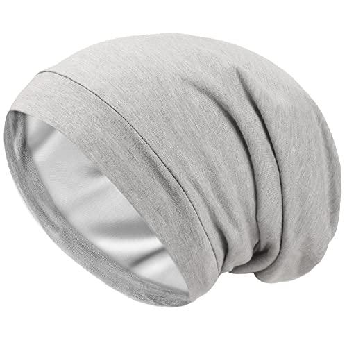Schlafmütze aus Satin mit Seidenfutter, V2.0, elastisch, Satin, für die Motorhaube, Slouchy, Nachtmütze, Schädelmütze, Patientenpflege, Chemo-Hut - Grau - Einheitsgröße