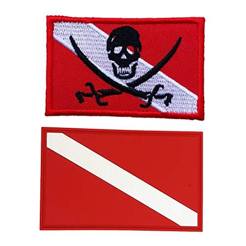 Homyl 2pcs Patch Embleme pour Drapeau/Pavillon de Plongée Iron on Patch Accessoire de Plongée sous-Marine