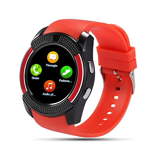 SEPVER Reloj Inteligente para Hombre Mujer Niños, Smartwatch con Tarjeta Sim , Smart Watch con Whatsapp notificación, Podómetro Actividad Inteligente con Control de música para Android (Rojo)