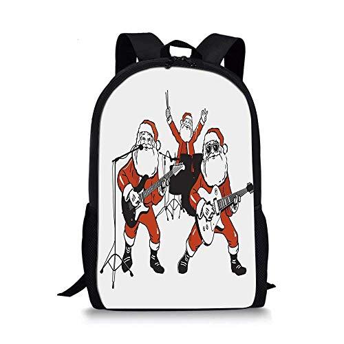 AOOEDM Backpack Lustige stilvolle Schultasche, Santa Claus Rockband Schlagzeug Spielen Gitarre Weihnachtsmann Show Print Dekorativ für Jungen, 11 '' L x 5 '' B x 17 '' H.