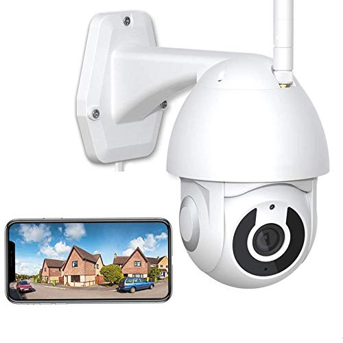 WiFi IP PTZ Cámara 1080P HD CCTV Cámara de Vigilancia Exterior,Detección de Movimient,Audio Bidireccional,Alerta Email,HD IR Visión Nocturna,Impermeable IP66,Garaje/patio 【Cámara+64G-TF-Tarjeta】