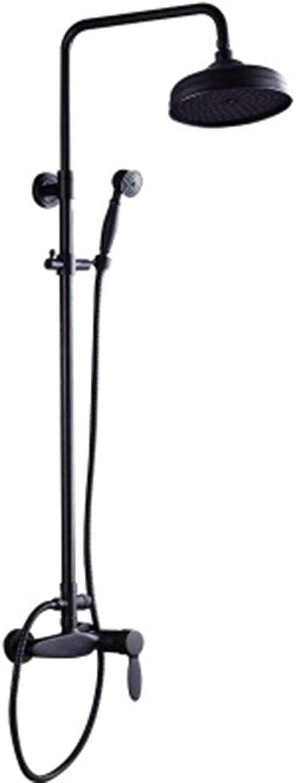 Duschsystem, Regendüse für Badezimmer zur Wandmontage, Einhandbedienung von Keramik-Duscharmaturensets mit heiem und kaltem Wasser, Brauseset aus schwarzer Bronze