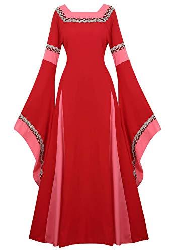 Vestido Medieval Renacimiento Mujer Vintage Victoriano gotico Manga Larga de Llamarada Disfraz Princesa Rojo m