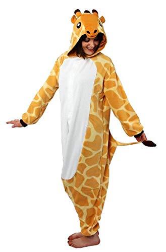 Anbelarui Tier Skelett Pinguin Dinosaurier Panda Einhorn Kostüm Damen Herren Pyjama Jumpsuit Nachtwäsche Halloween Karneval Fasching Cosplay Kleidung S/M/L/XL (S, Giraffe.)