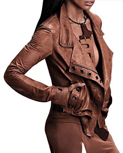 Minetom Giacca Corta da Donna in Pelle PU Giacca Tasche con Cerniera Biker Giacca per L'Autunno E l'inverno Biker Motocicletta Giacchetto (M, Marrone)