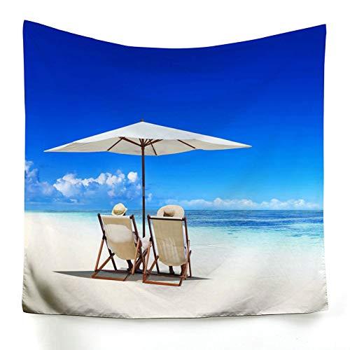 AueDsa Tapiz Pared Poliéster,Silla de Playa y Cielo Azul Tapiz para Sofa Azul Blanco Tapiz de Pared