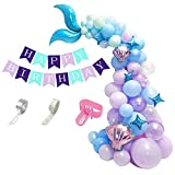 99 piezas de guirnalda de globos de látex de sirena, cola de sirena con globo de aluminio para decoración de fiesta de cumpleaños de sirena bajo el mar (azul)…