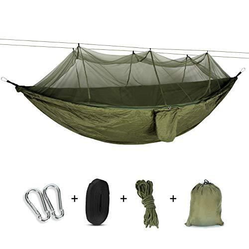 VINGO Amaca da Viaggio - Amaca da Campeggio con zanzariera in Nylon con Paracadute - Amaca Doppia o Singola - Nylon - 440lbs - 260x140 CM - Verde Militare - per Campeggio