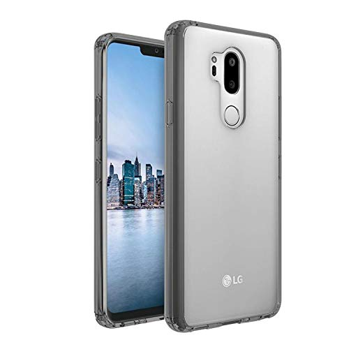 Plus Transparent Case (Hard Back & Soft Bumper Cover) with 8 Foot Drop Protection & Shock Absorbing Bumpers Case for LG G7 ThinQ (Smoke Black)