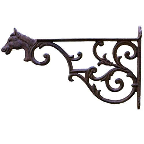Joeesun Tête de cheval en fonte murale suspendue support de fleurs balcon extérieur suspendu panier pot de fleurs vert rose crochet support