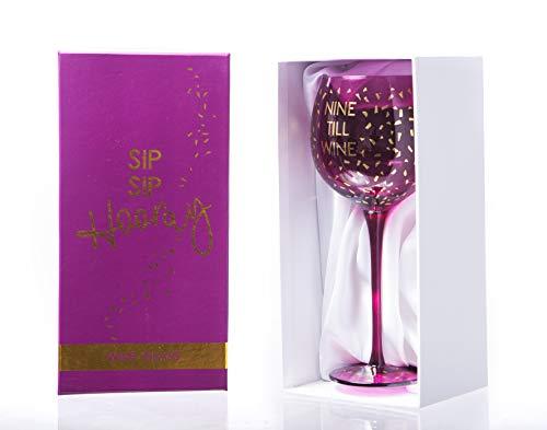 Boxer Gifts Nine Till Wine Opulent Verre à vin | Verrerie fantaisie amusante pour elle | Anniversaire, Noël, fête des mères Secret Santa | Boîte cadeau | Rose