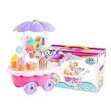 Carrito de helado Pretend Play Food Postre y Candy Trolley Set juguetes para niñas y niños, carro de hielo, simulación de juguete para niñas y niños Pretend Play Comida postre Candy Trolley Juguetes