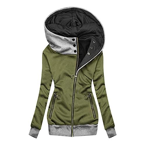 Sudadera con capucha para mujer, de invierno, con forro cálido, con cremallera, de manga larga,...