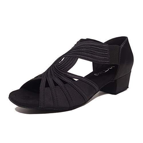 Low Heel Women Ballroom Dance Shoes Salsa Batchata Social Beginner Practice Wedding Dancing 1.5'' Heels YT04(7.5, Black)