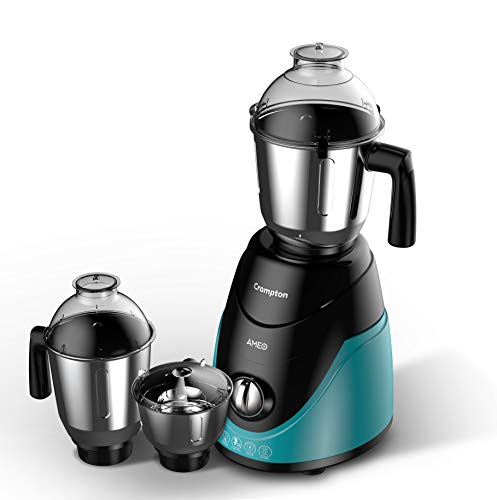 Crompton Ameo 750-Watt Mixer Grinder with 3 Stainless Steel Jars,Maxi Grind Technology (Black & Green)