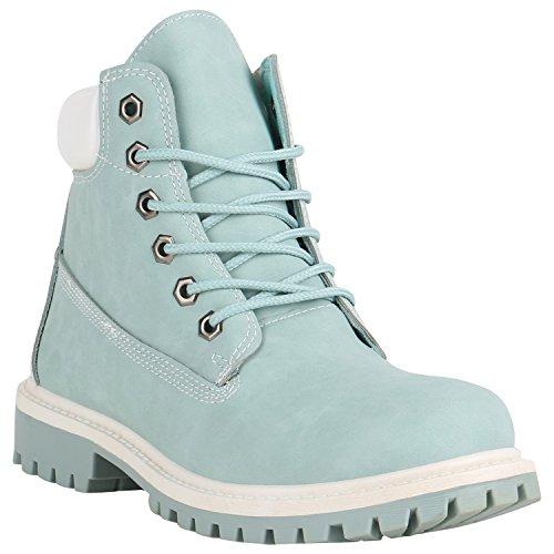 Laarsparadies Dames laarzen Worker Boots met blokhak profielzool Flandell