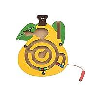 PULABO 子供木製フルーツトラックビーズ磁気ペン移動迷路おもちゃ子供インテリジェンスパズルゲーム赤ちゃん早期教育玩具-梨便利で実用的 便利で楽しい