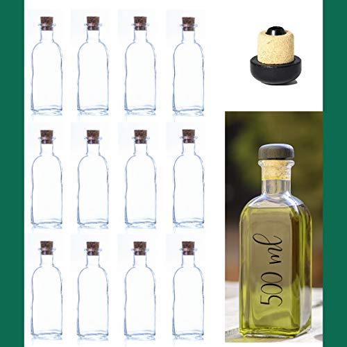 'ESENCIA ANDALUSI' Botellas vacías de 500 ml Botella de Vino Botella de Licor Botella de Aceite Botella de vinagre de Cristal, 0,5 litros, Botella Corcho (Caja 12 Und Tapón Corcho)