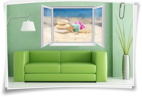Medianlux 3D venster muurschildering muursticker sticker sticker wellness zand kaars schelp stenen woonkamer decoratie
