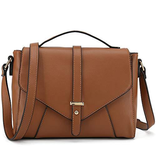 Medium Sized Crossbody Purse for Women Designer Shoulder Bags Ladies Handbags (Brown)