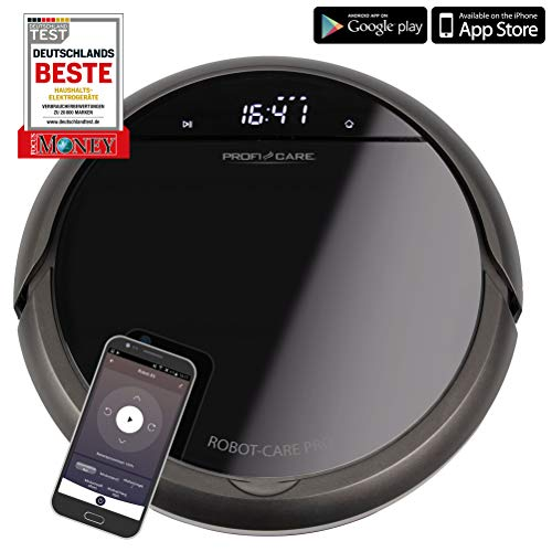 ProfiCare PC-BSR 3043, selbstaufladender Staubsaugroboter mit WiFi-App und Fernbedienung, Starke Saugleistung, HEPA Filter, ca. 120 min. Akkulaufzeit, Voice Control via Alexa & Google Assistant