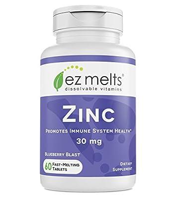 EZ Melts Zinc for Immune Support, 30 mg, Sublingual Vitamins, Vegan, Zero Sugar, Natural Blueberry Flavor, 60 Fast Dissolve Tablets