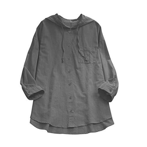 Zegeey Damen Oberteil Baumwoll Leinen Tunika Einfarbig Mit Kapuze Feste Knopf Langarm Langes Hemd Bluse Tops Shirts LäSsige Lose (Grau,46 DE/3XL CN)