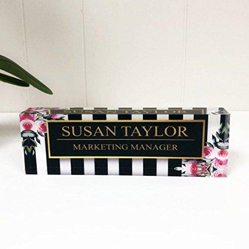 "Artblox Office Desk Name Plate Personalized | Custom Name Plates for Desks on Acrylic Glass Decor | Office Desk Decor Nameplate | Desk Accessories | Black Stripes & Roses - (8""x2.5"")"