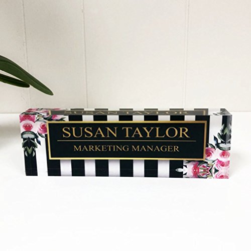 Artblox Office Desk Name Plate Personalized | Custom Name Plates for Desks on Acrylic Glass Decor | Office Desk Decor Nameplate | Desk Accessories | Black Stripes & Roses - (8