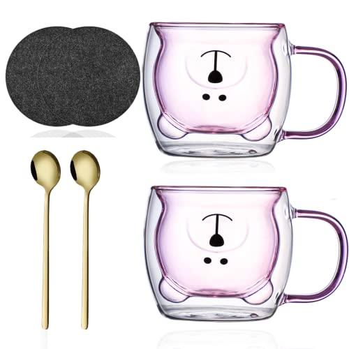 Doppelwandige Tee Gläser 2 Set Kaffeetasse mit Löffel & Untersetzer Bär Kaffeebecher Lustige Tassen Thermogläser Transparente Isoliergläser Cappuccino Gläser Teetasse Espressotassen für Weihnachten