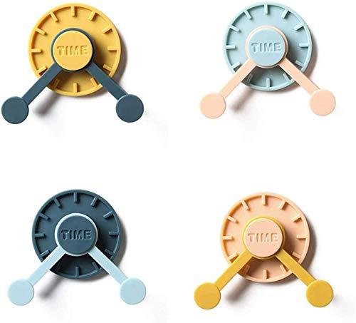 4 Piezas De Ganchos De Pared Con Reloj Giratorio 360 Sin Perforaciones Para Colgar En El Hogar, Cocina, Baño, Ganchos De Almacenamiento Con Forma De Reloj Creativo, Soporte Para Sombreros