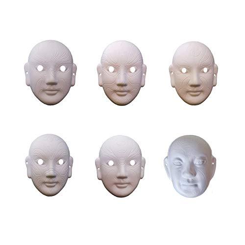 Mscaras de papel blanco DIY para la cara de Halloween Mscaras de miedo Mscara de pera china Pulpa en blanco pintado a mano 6 PCS
