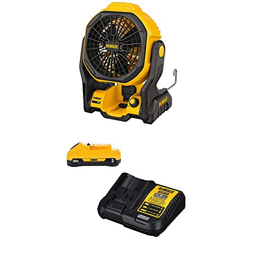 DEWALT DCE511B 11' Corded/Cordless Jobsite Fan (Tool Only) with DCB230C 20V...