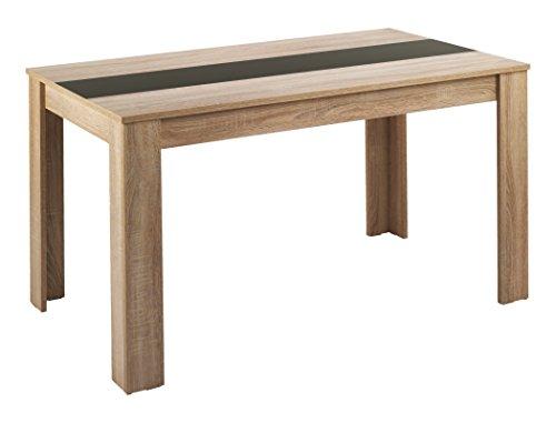 HOMEXPERTS Esstisch NICO / Küchentisch 120 cm / Esszimmertisch / Tisch in Sonoma Holz Eichen-Optik hell-braun / Wendeplatte in der Mitte wahlweise Schwarz oder Weiß / 120 x 80 x 75 cm (L x B x H)