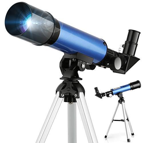 TELMU Kinder Teleskop Licht Teleskope & 2 Optionen Okular Pädagogischer Vergrößerung Tragbarer Refraktor mit Stativ 45 Grad Diagonalspiegel,kann das Bild korrigieren,Betrachten den Mond und die Sterne