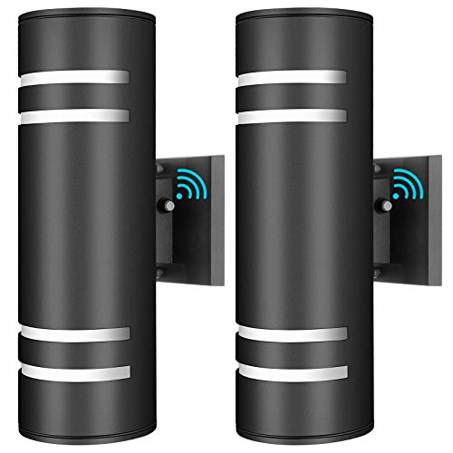 2-Pack Up Down Wall Lights, Dusk to Dawn Sensor Outdoor Wall...