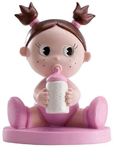 MIRVEN Figura para Pastel de Bautizo Bebe Biberon Niña Color Rosa