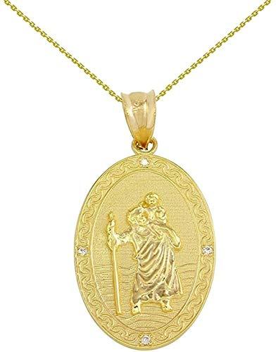 MNMXW Colgante de Oro Amarillo sólido con medallón de Diamantes de San Cristóbal (1)