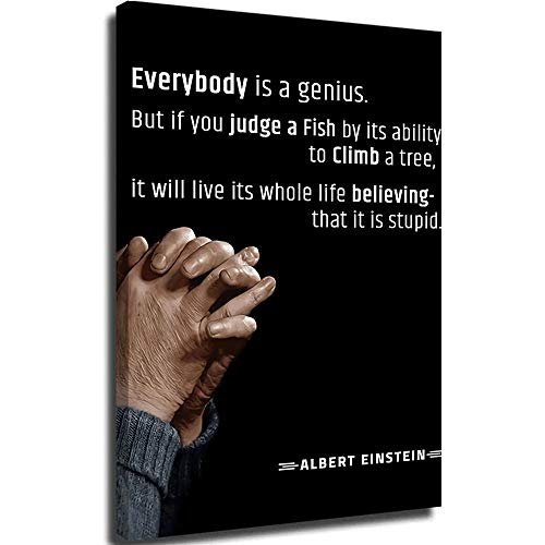 Cow paintings canvas wall art canvas pictures wall mural albert einstein quotes everyone is a genius canvas pictures for wall custom 16x24inch
