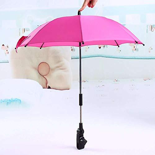Yuyanshop Yosoo Silla de ruedas Cochecito de bebé paraguas y soporte sombrilla rayos UV lluvia sol toldo rosa