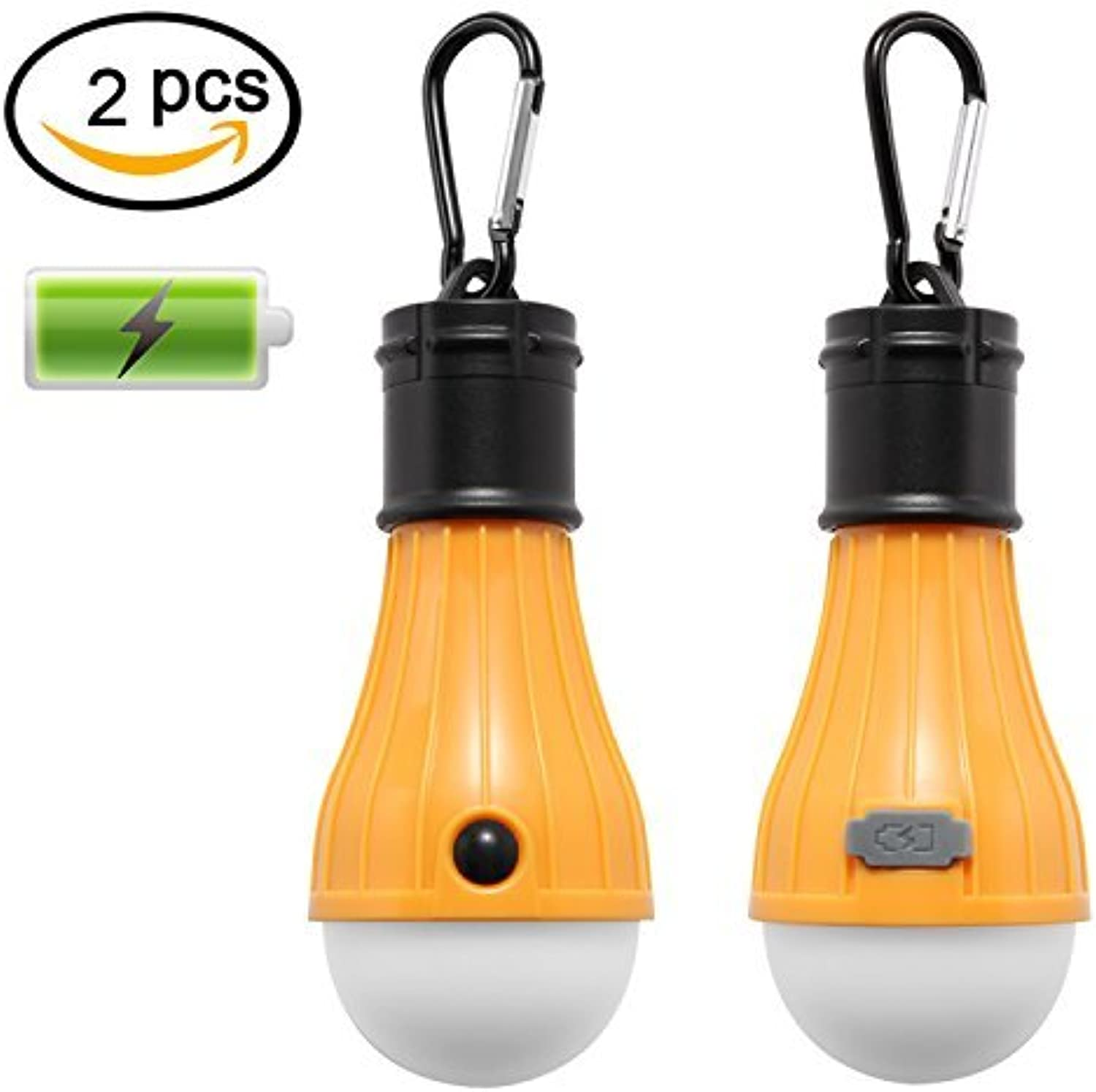 IORIGIN LED Camping Lantern with Rechargeable Battery Portable Outdoor Tent Lights Waterproof Emergency Flashlight (Yellow, 2 pcs)