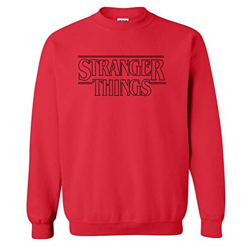 WanYangg Print Pullover Herren Langarm Brief Drucken Rundhals Sweatshirts Gerippter Boden Sweatshirt Für Männer Ohne Kapuze Rot schwarz XL